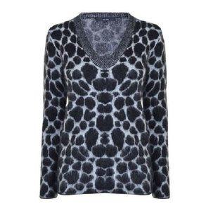 NWT $1,900 GUCCI Cheetah-Print Mohair V-Neck sz S